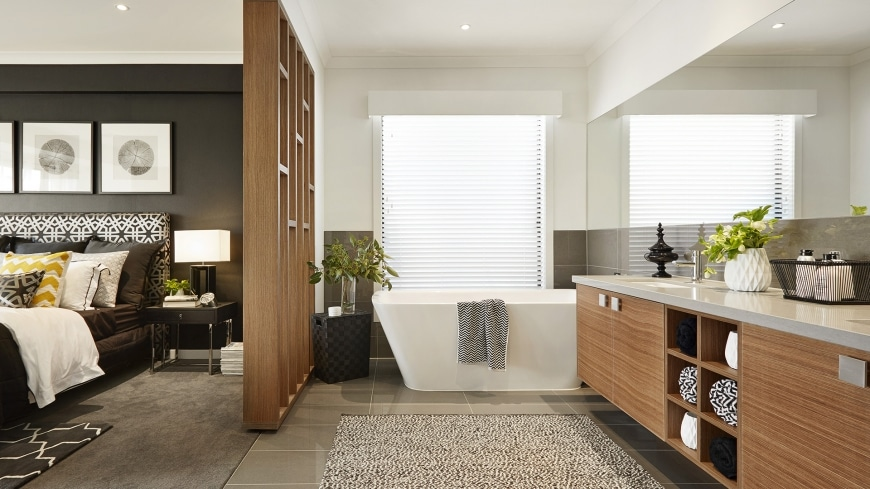 Distribucion De Un Baño Con Tina:Diseño de cuarto de baño en dormitorio