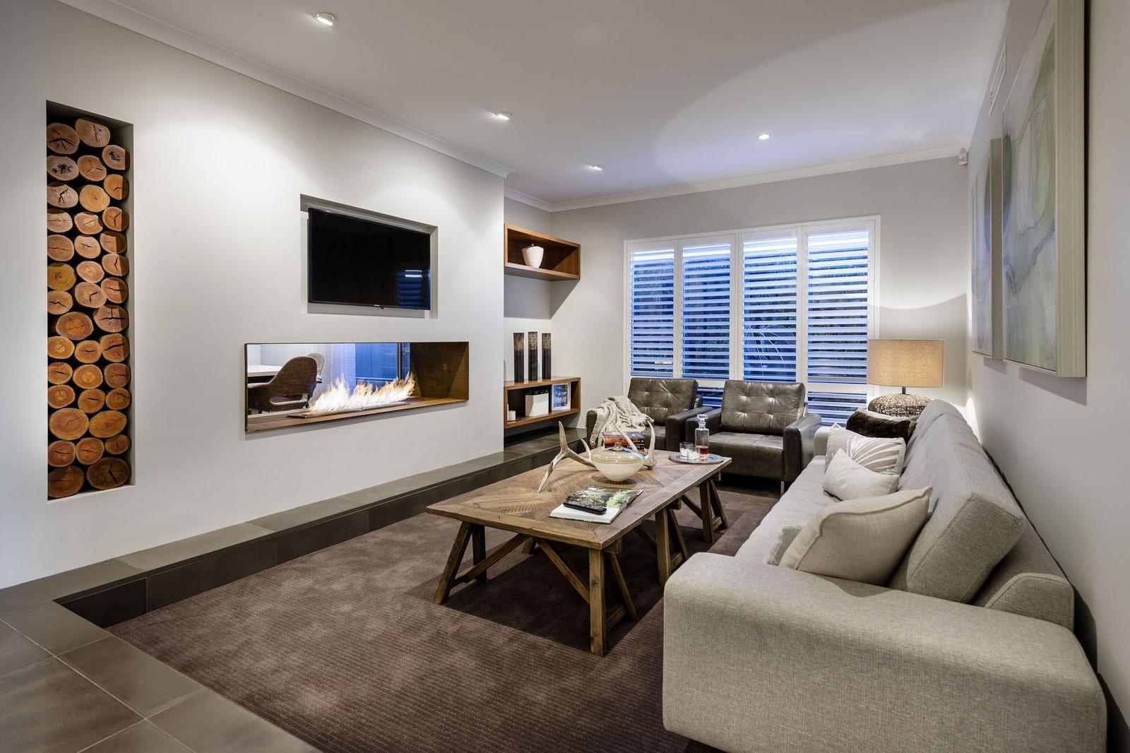 Dise o de casa moderna de dos pisos fachada e interiores for Sala de estar homescapes