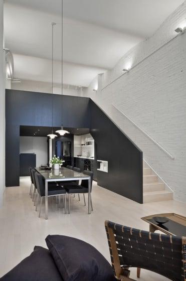 Diseño de interiores de apartamento moderno con mezzanine