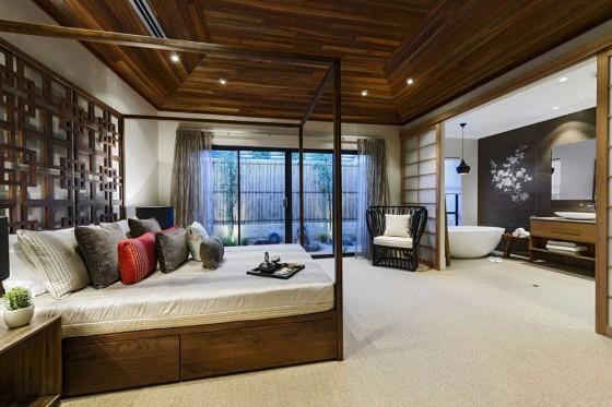 Diseño de interiores dormitorio oriental
