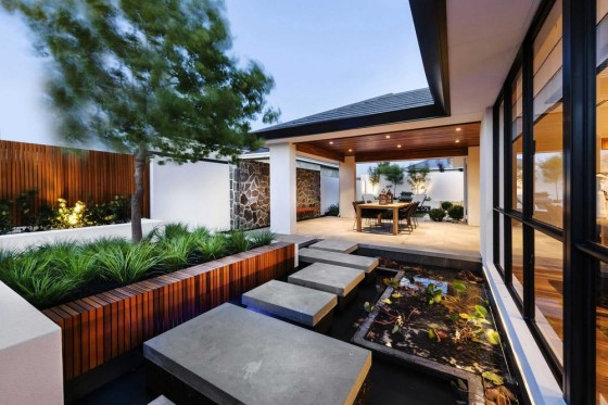 Diseño de jardín japonés moderno