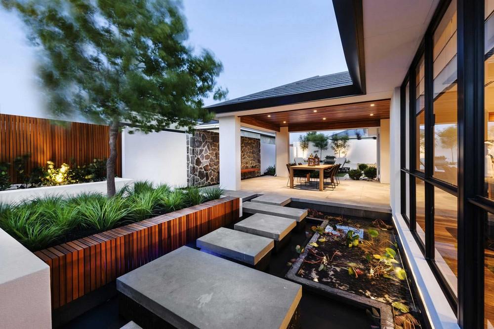 Dise o de casa de un piso estilo oriental con planos for Diseno de jardin moderno