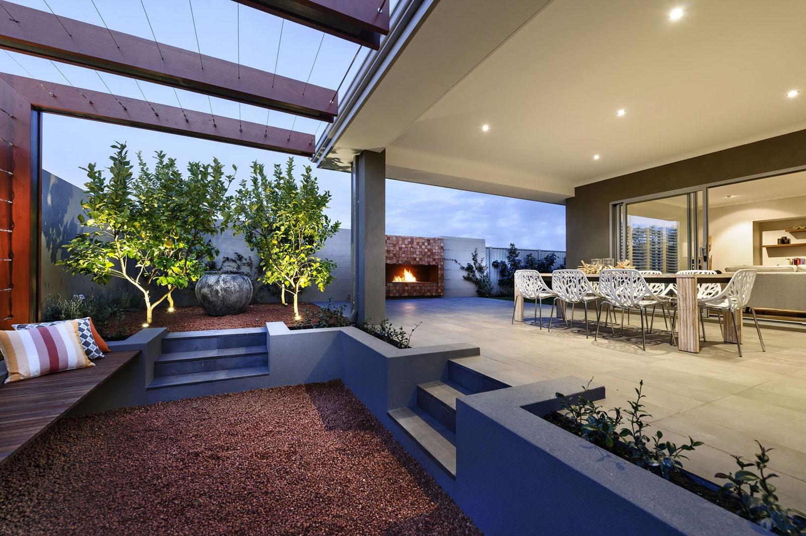 Dise o de casa moderna de dos pisos fachada e interiores - Diseno de terraza ...