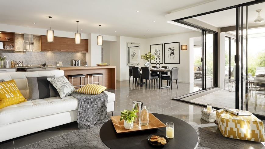 Casa de un piso moderna dos fachadas y dise o interior for Sala de comedor