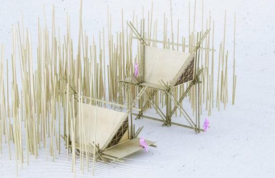 Maqueta de casa de bambú proyecto