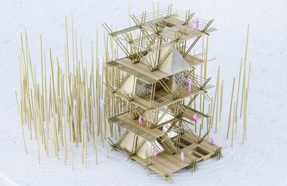 Maqueta de casa de bambu
