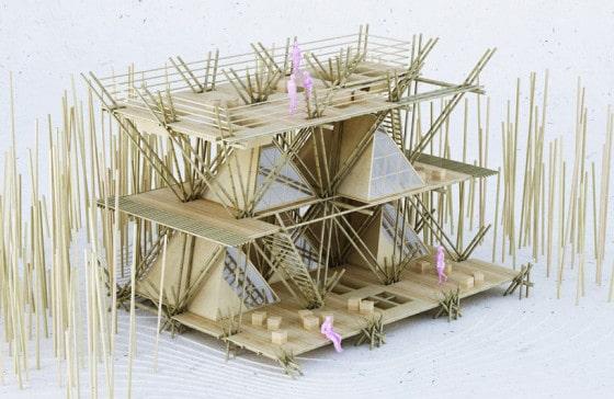 Maqueta de vivienda de tallos de bambú