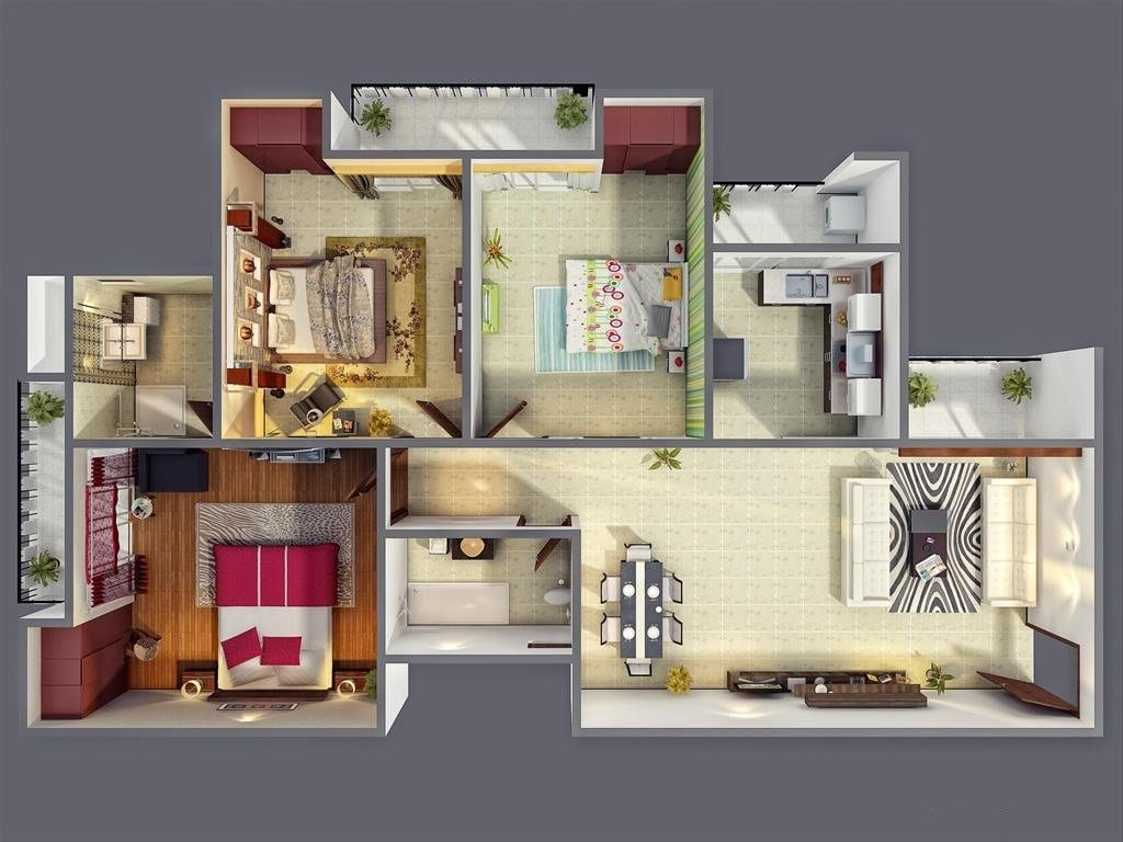 Planos de departamentos de 3 habitaciones construye hogar for Three bedroom house layout