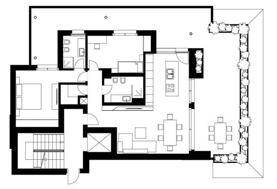 Plano de apartamento de dos dormitorios y terraza