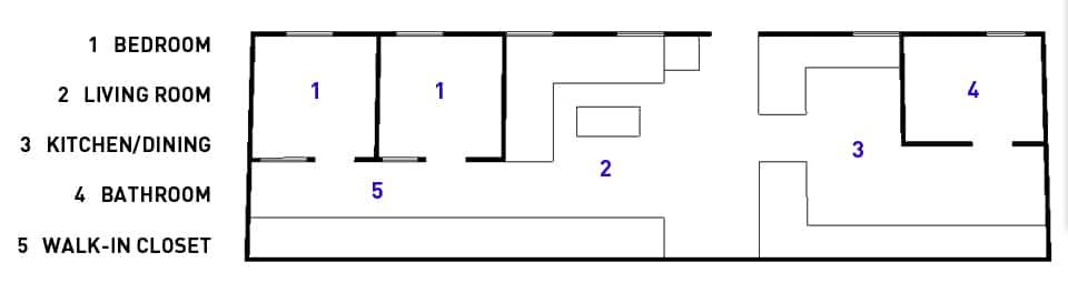 Dise o de apartamento de dos habitaciones planos e for Planos de apartamentos pequenos de dos habitaciones