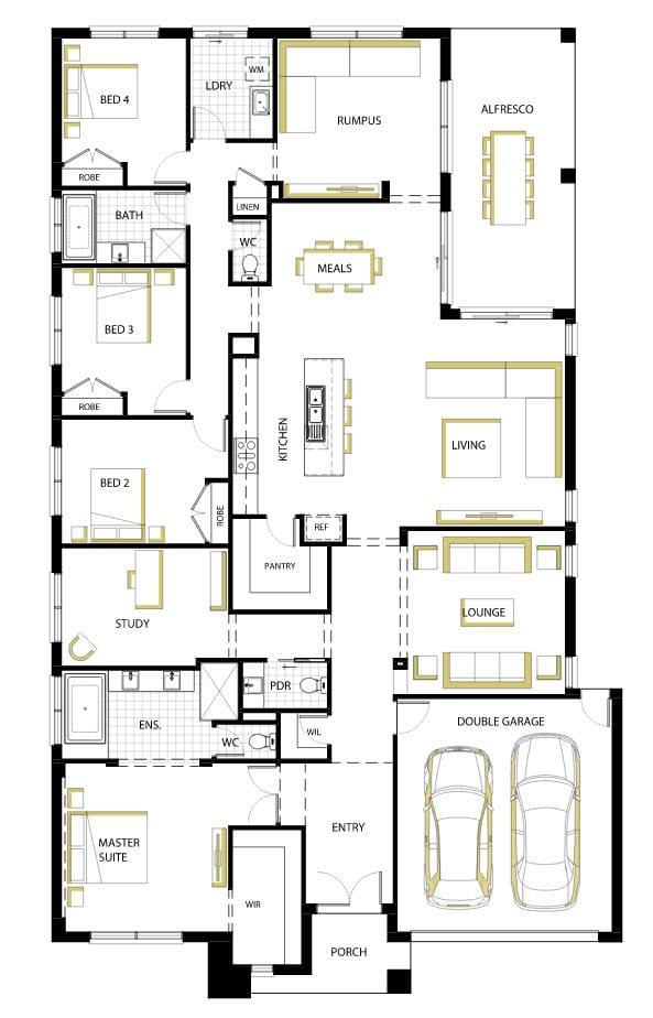 Diseno De Baños Normales:Casa de un piso moderna con hermosa fachada y diseño de interiores