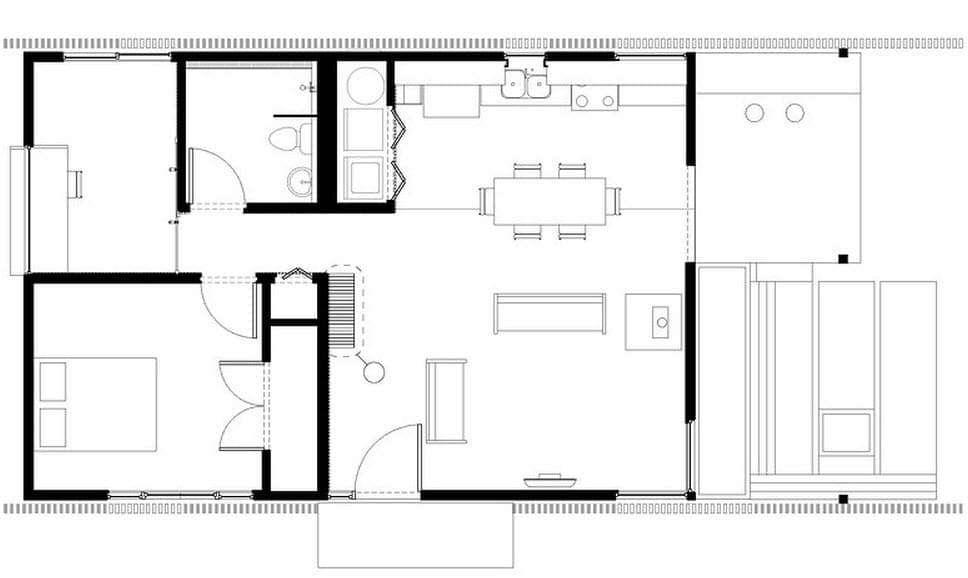 Plano de casa peque a con moderna fachada m s interiores for Casas modernas planos y fachadas