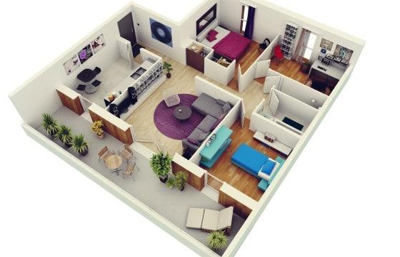 Planos De Departamentos 3 Habitaciones Construye Hogar