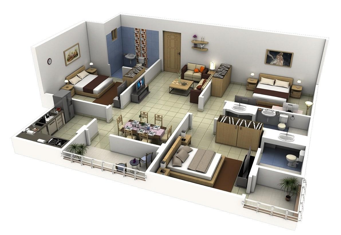 Planos de departamentos de 3 habitaciones construye hogar for Planos de cocina en 3d