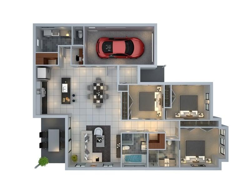 Planos de departamentos de 3 habitaciones construye hogar for Louisiana home plans designs