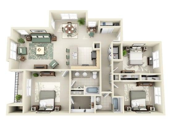 20 Planos de departamentos de 3 habitaciones, modernos diseu00f1os en 3D