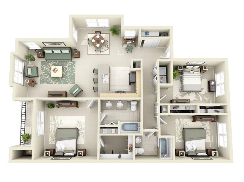 Planos de departamentos de 3 habitaciones construye hogar for Planos de cocina y sala