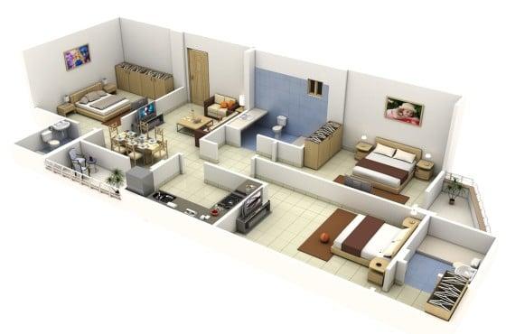 Planos de departamentos de 3 habitaciones construye hogar for Planos apartamentos pequenos
