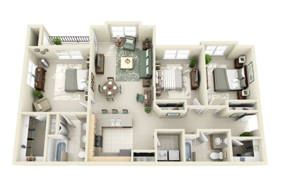 Planos de departamentos de 3 habitaciones construye hogar for Planos de departamentos