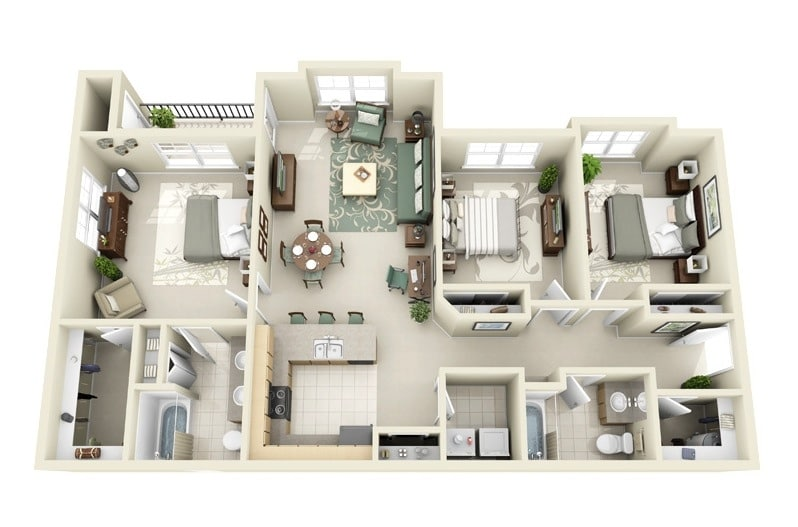 Baños Modernos Para Departamentos:3 Bedroom House Layouts