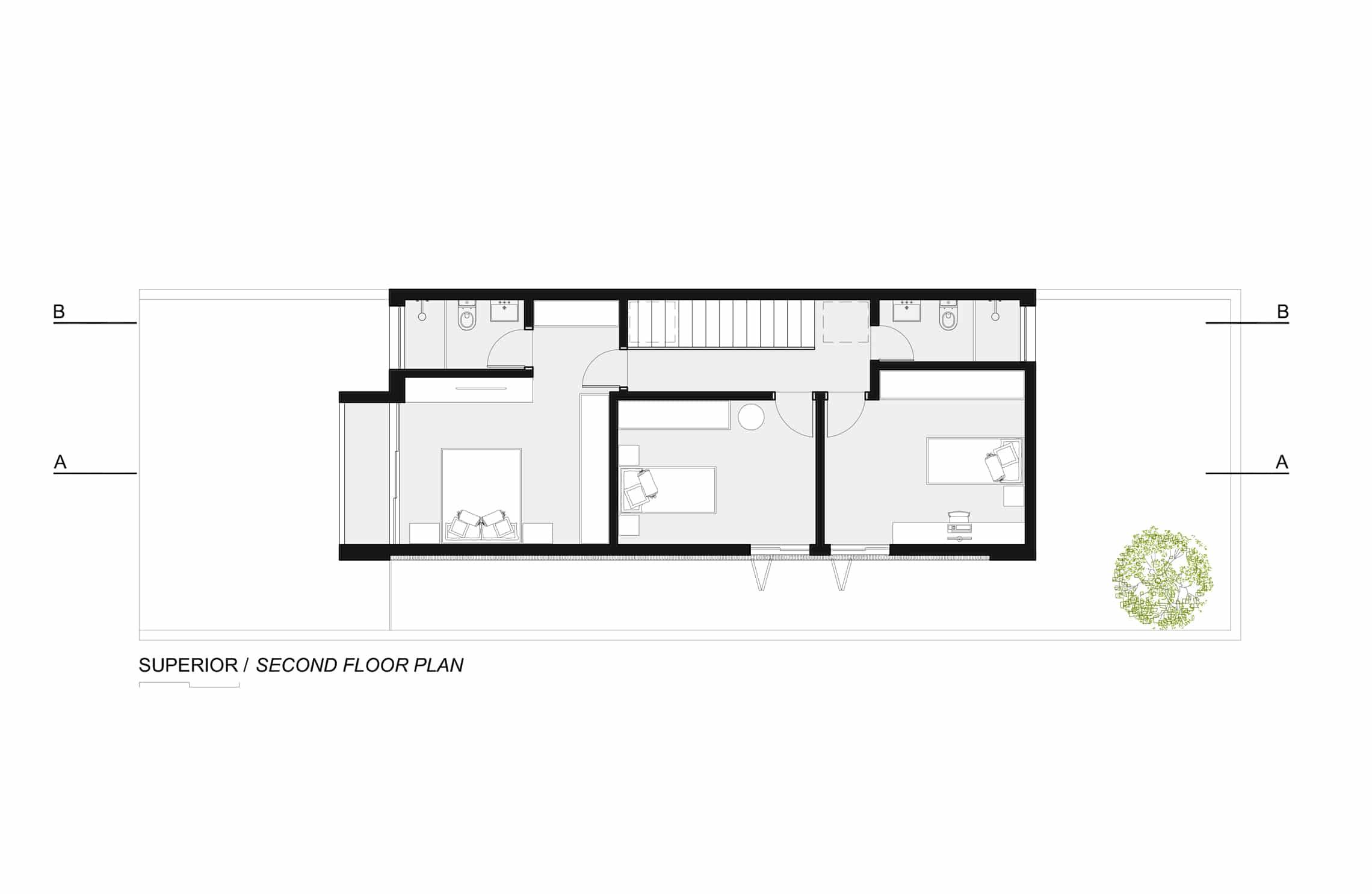Sencilla casa de dos pisos con planos y dise o de - Como cerrar un terreno con madera ...