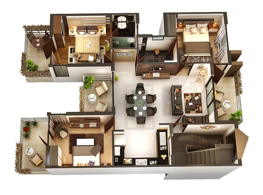 Planos de departamentos de 3 habitaciones construye hogar for Programa para crear habitaciones 3d