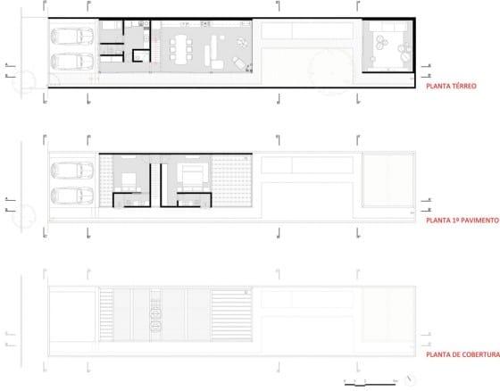 Dise o de casa larga y angosta con planos y fachada - Distribucion casa alargada ...