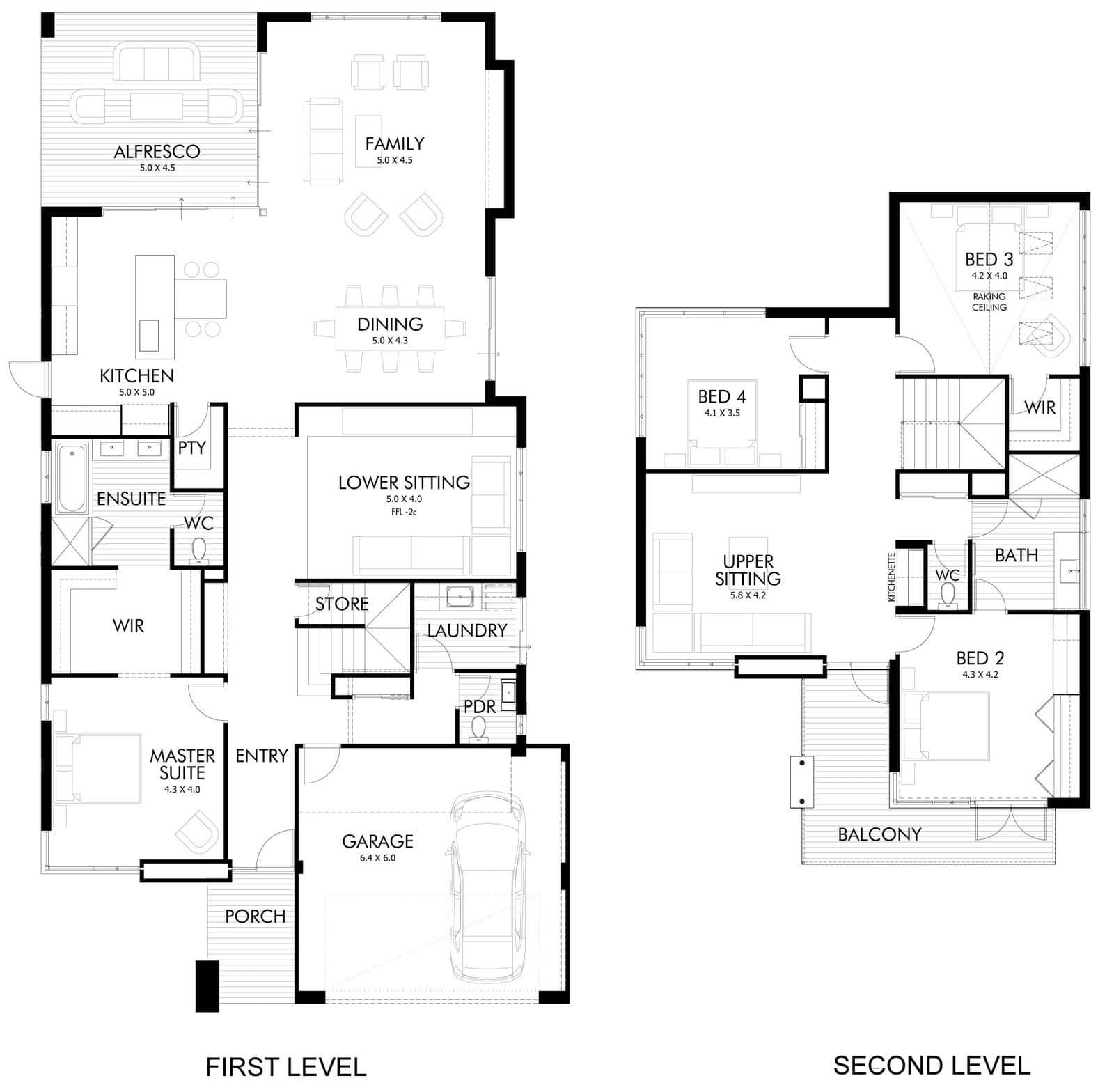 Dise o de casa moderna de dos pisos fachada e interiores for Planos de casas de 2 pisos