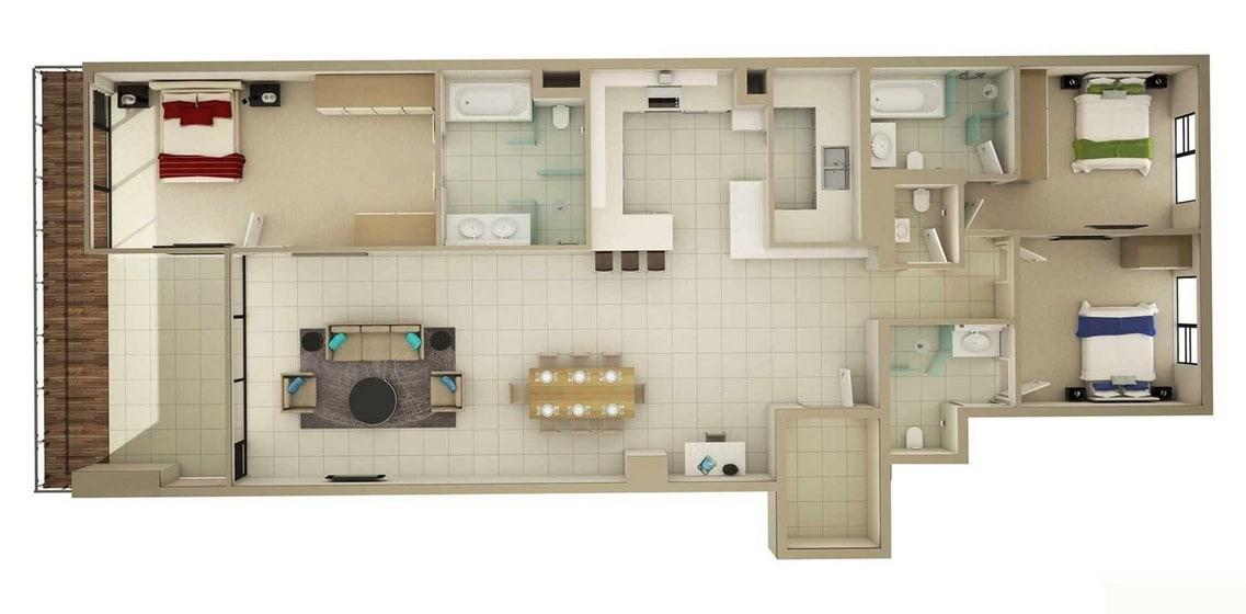 Cuanto Mide Un Baño Con Tina:3 Bedroom Apartment Floor Plans 3D