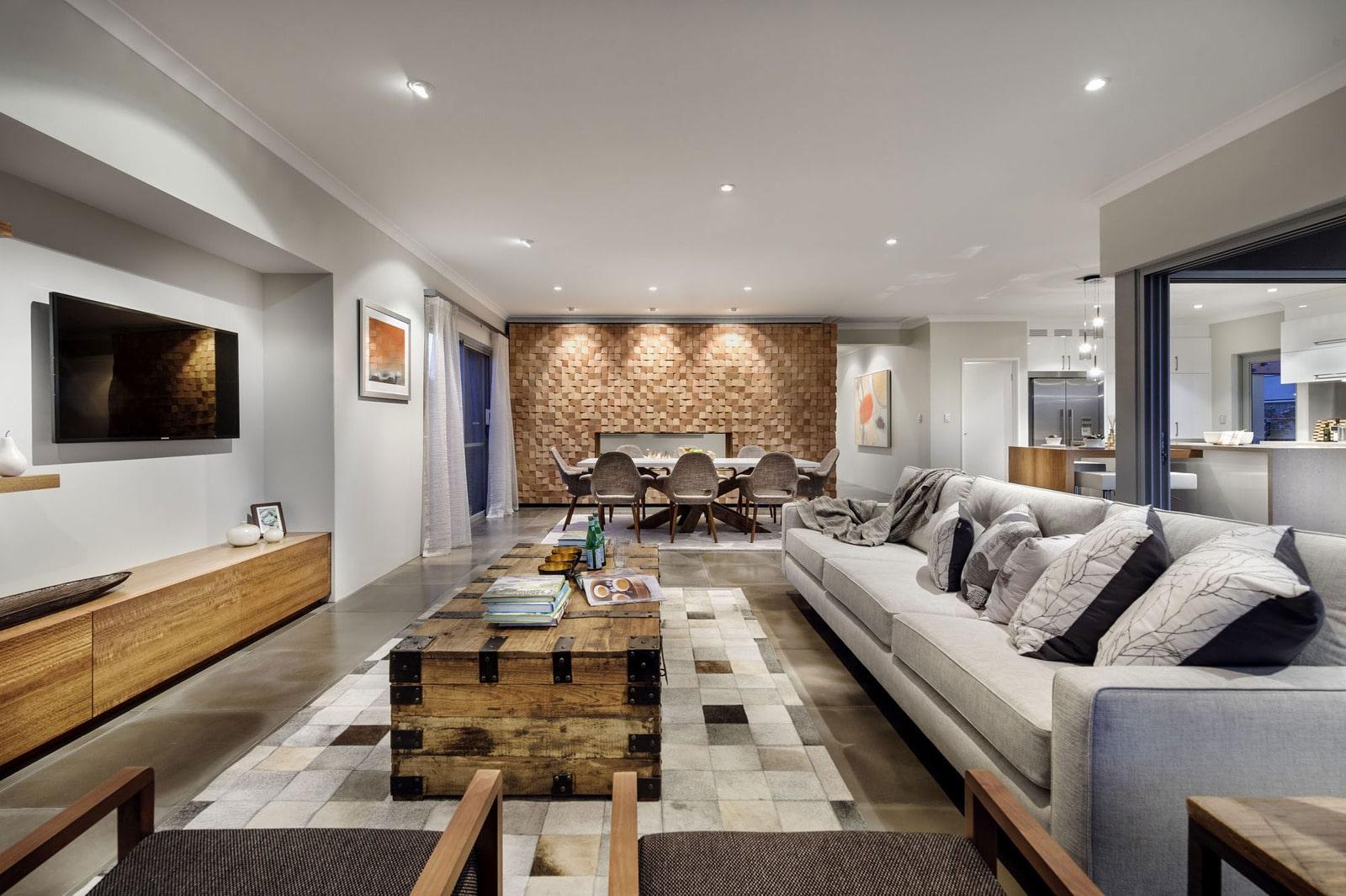 Dise o de casa moderna de dos pisos fachada e interiores for Diseno de interiores sala de estar