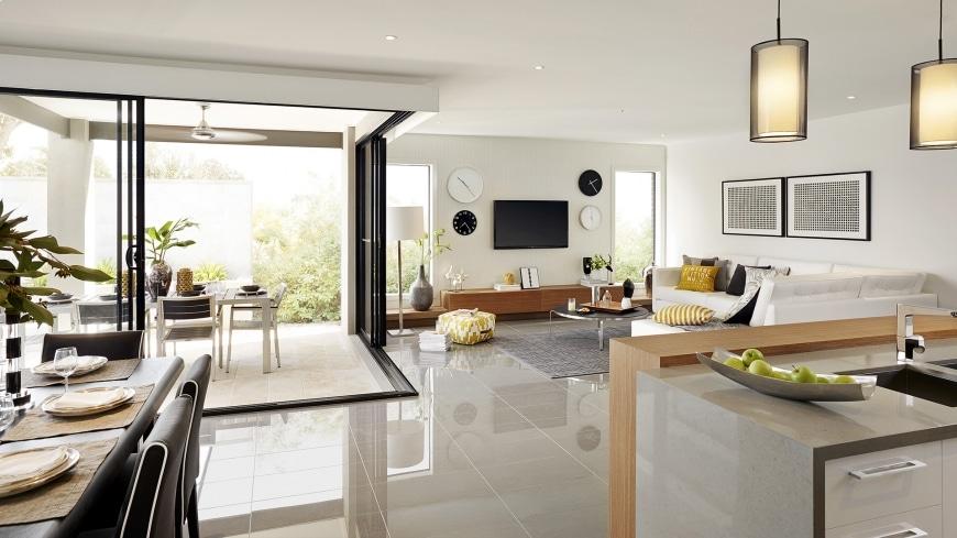 Casa de un piso moderna dos fachadas y dise o interior for Pisos para living y cocina