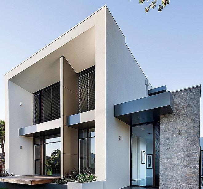 Dise o de casa moderna en esquina fachada e interiores - Disenos casas modernas ...