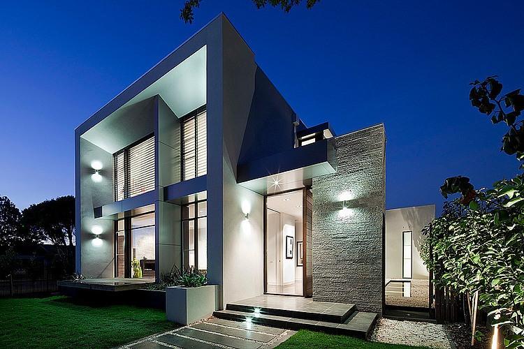 Dise o de casa moderna en esquina fachada e interiores for Ver disenos de casas modernas