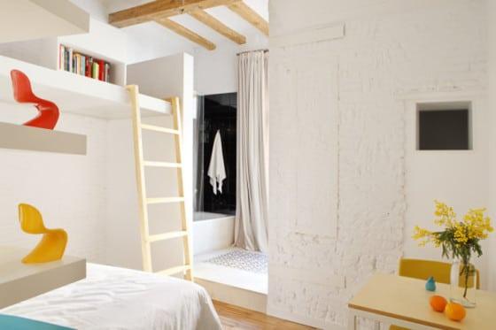 Diseño de dormitorio rústico de departamento