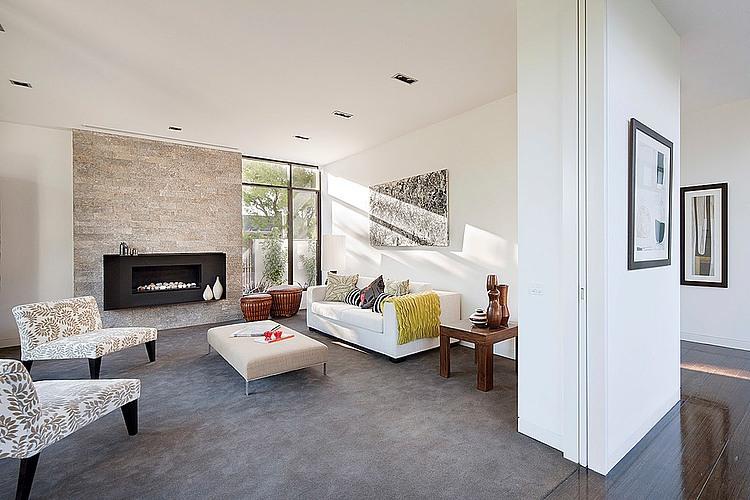 diseo de sala con chimenea moderna