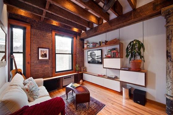 Diseño de sala de apartamento rústico