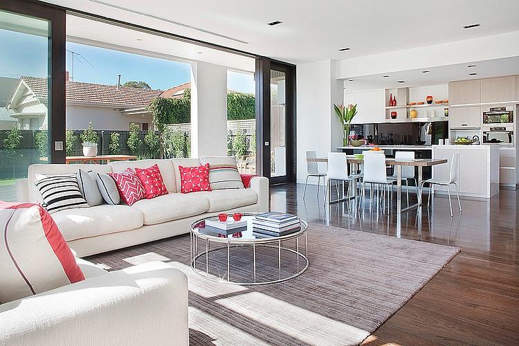 Dise o de casa moderna en esquina fachada e interiores for Comedor y cocina modernos