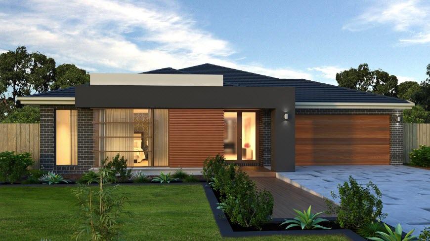 Dise o de casa de una planta con planos y fachadas for Fachadas modernas para casas de un piso
