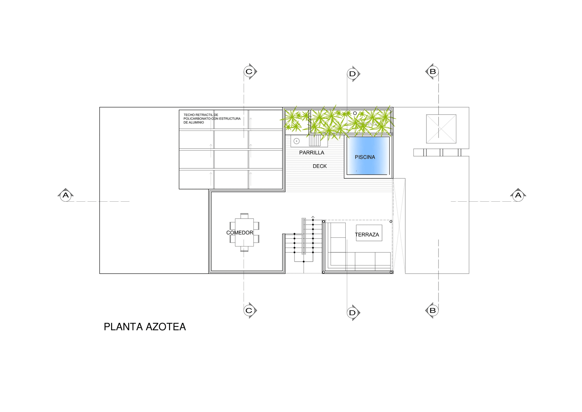 Dise o de casa de una planta con s tano y terraza piscina for Planos de piletas de natacion