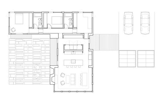Plano de casa de una planta en forma de L