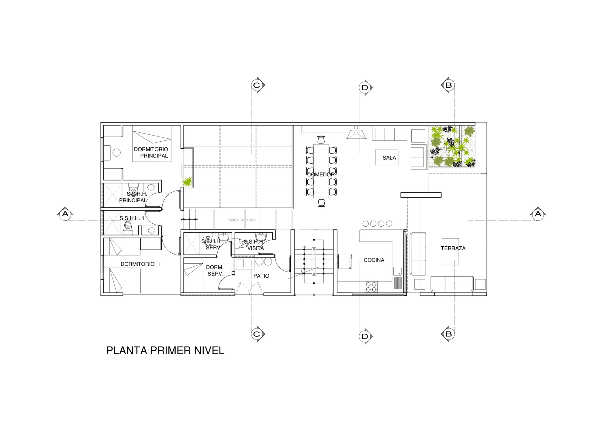 Dise o de casa de una planta con s tano y terraza piscina - Casas de una planta ...