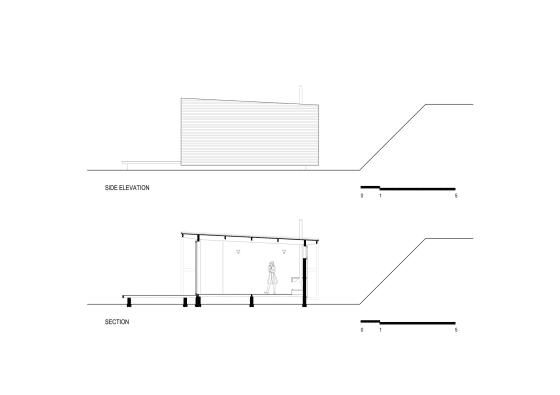 Plano de corte y de elevación de casa pequeña