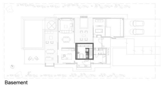 Plano de sótano para cava de casa de dos pisos