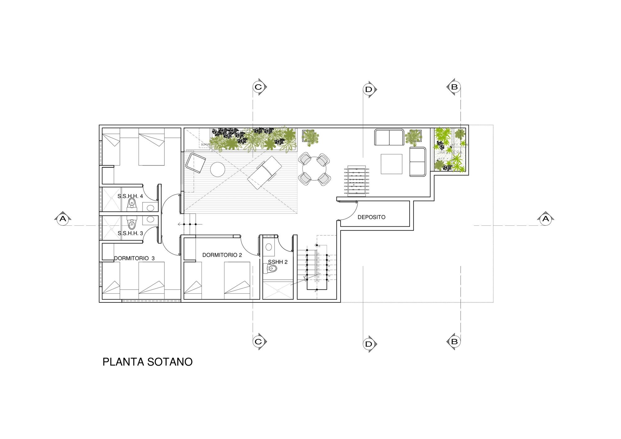 Dise o de casa de una planta con s tano y terraza piscina for Planos de viviendas de una planta