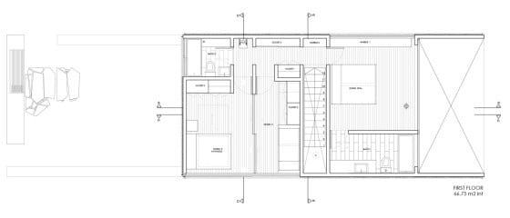 Plano del segundo piso con tres habitaciones