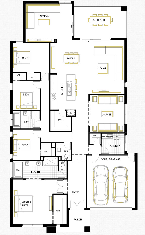 Dise o de casa de una planta con planos y fachadas for Diseno de casa sencilla