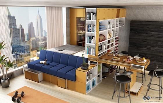 Diseño de mini departamento con muebles modulares