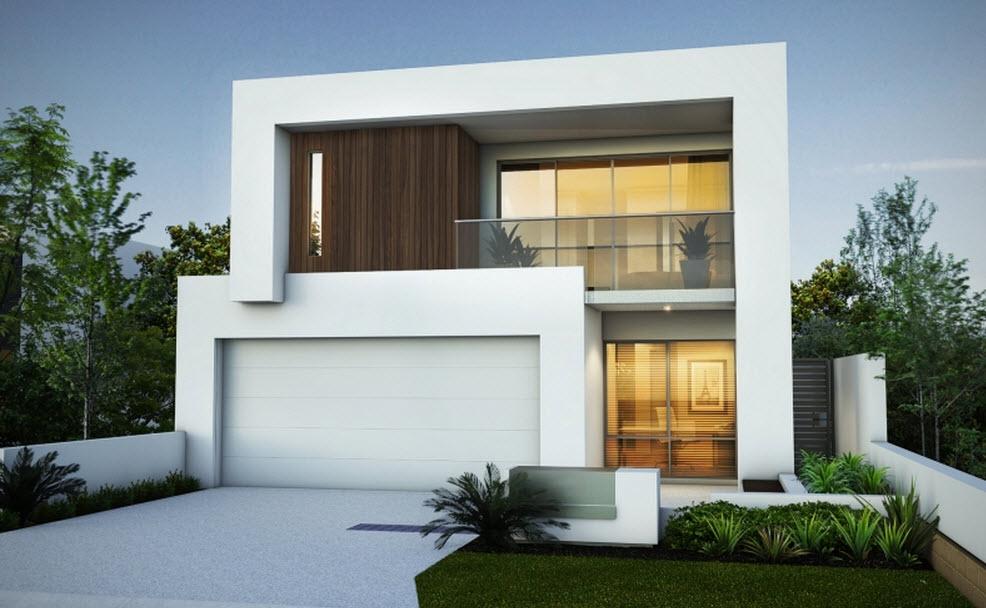 Planos y fachada de moderna casa de dos plantas for Plantas de viviendas modernas
