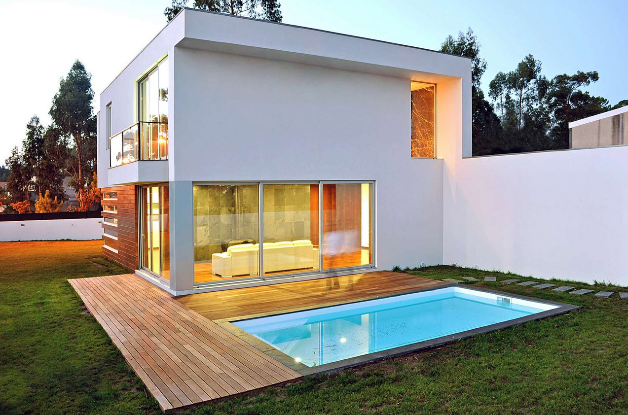 Dise o de casa cuadrada de dos pisos con planos y fachadas for Planos de piscinas pequenas