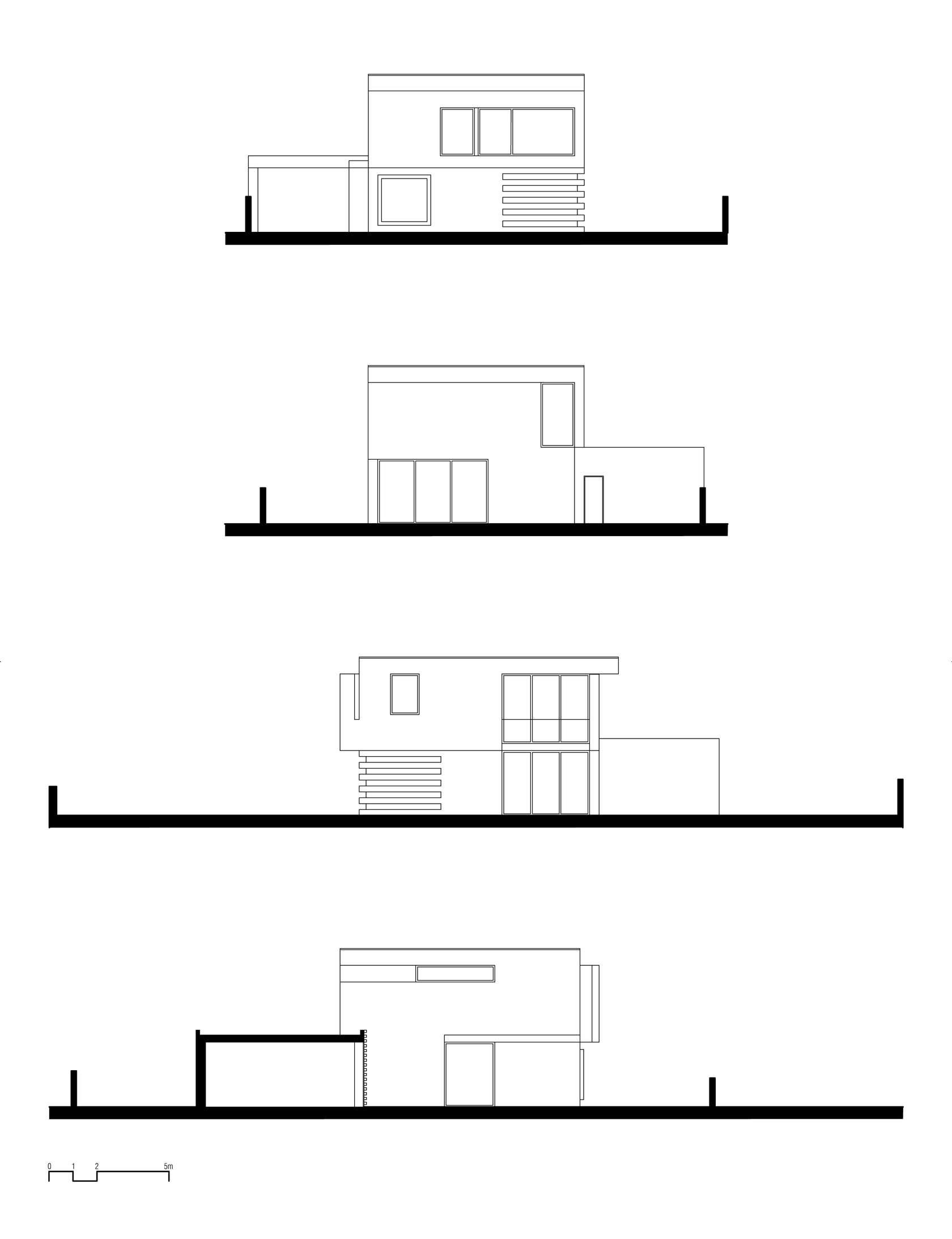 Dise o de casa cuadrada de dos pisos con planos y fachadas for Planos de casas de dos pisos modernas